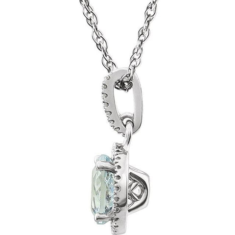 1.35 CTW Aquamarine Necklace Diamond Halo Necklace-Bel Viaggio Designs