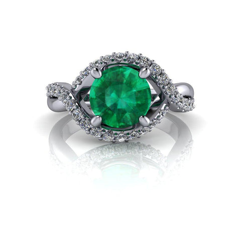 1.90 ctw Green Emerald & Lab Grown Diamond Engagement Ring-Bel Viaggio Designs