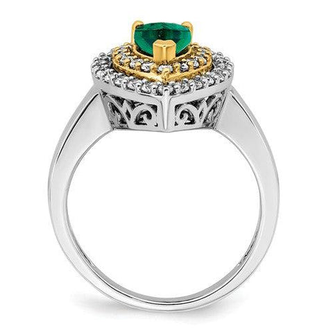 1.56 CTW Lab Grown Diamond Ring Pear Shape Emerald Halo Ring-Bel Viaggio Designs