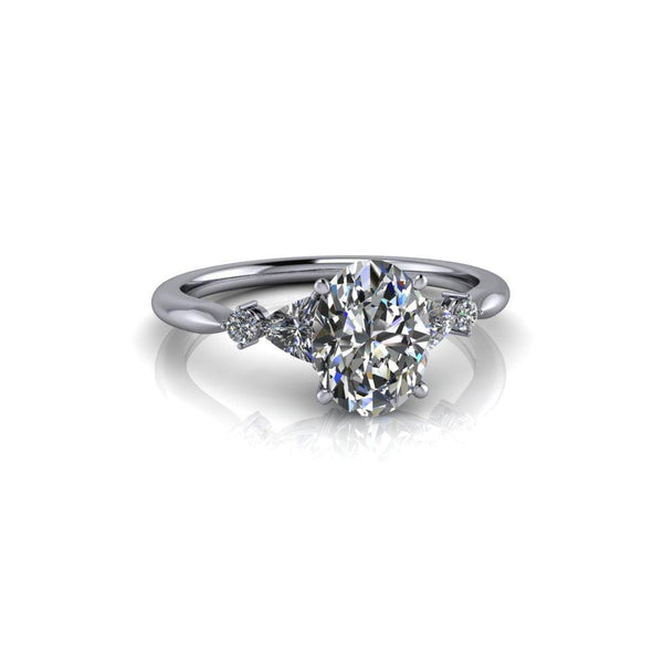 1.84 ctw Oval & Trillion Five Stone Moissanite Engagement Ring-Bel Viaggio Designs