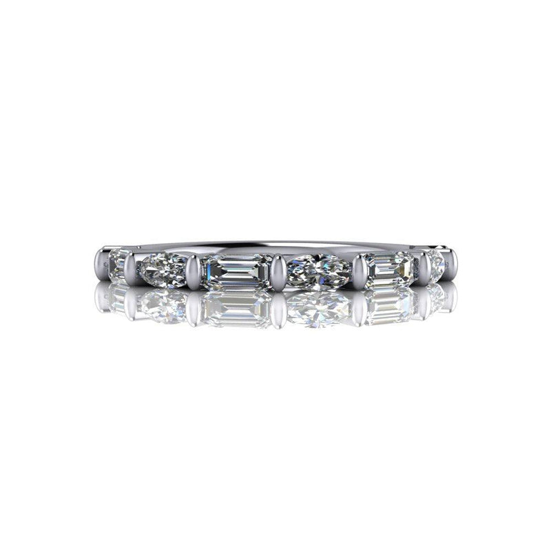.80 CTW Oval & Emerald Cut Moissanite Wedding Band-Bel Viaggio Designs