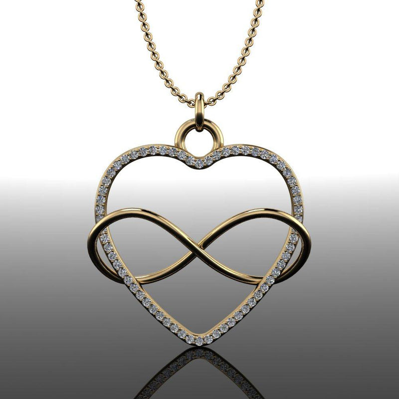 .85 ctw Diamond Heart Infinity Necklace-Bel Viaggio Designs
