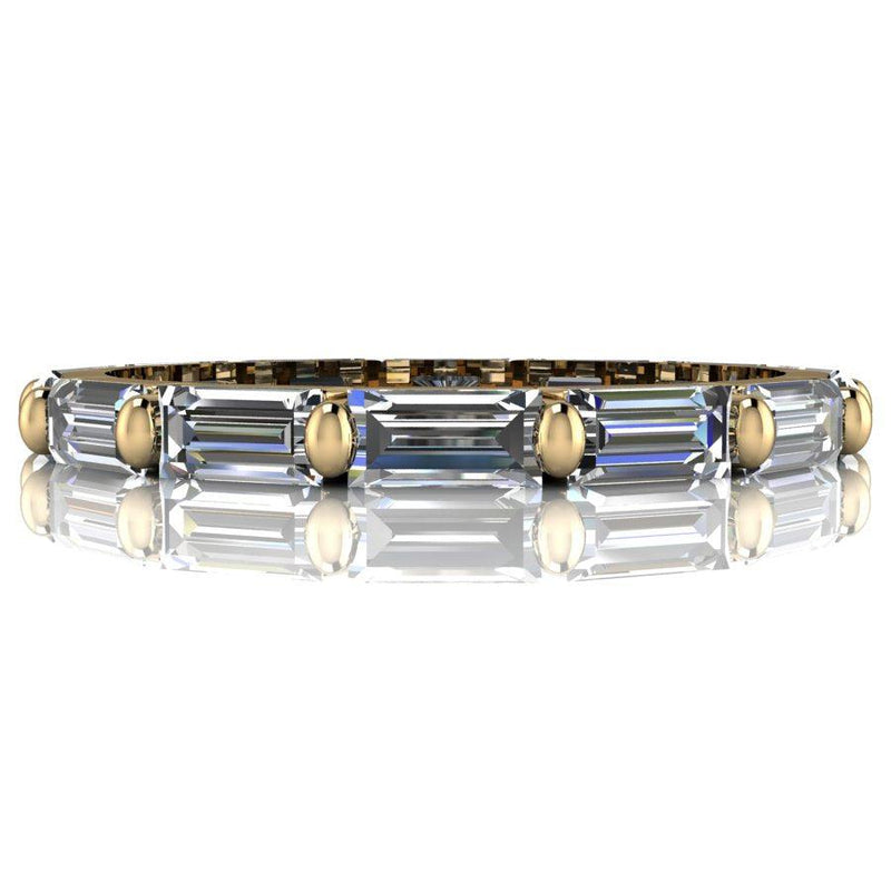 1.52 CTW Lab Grown Diamond Wedding Band, Diamond Baguette Stacking Ring-Bel Viaggio Designs
