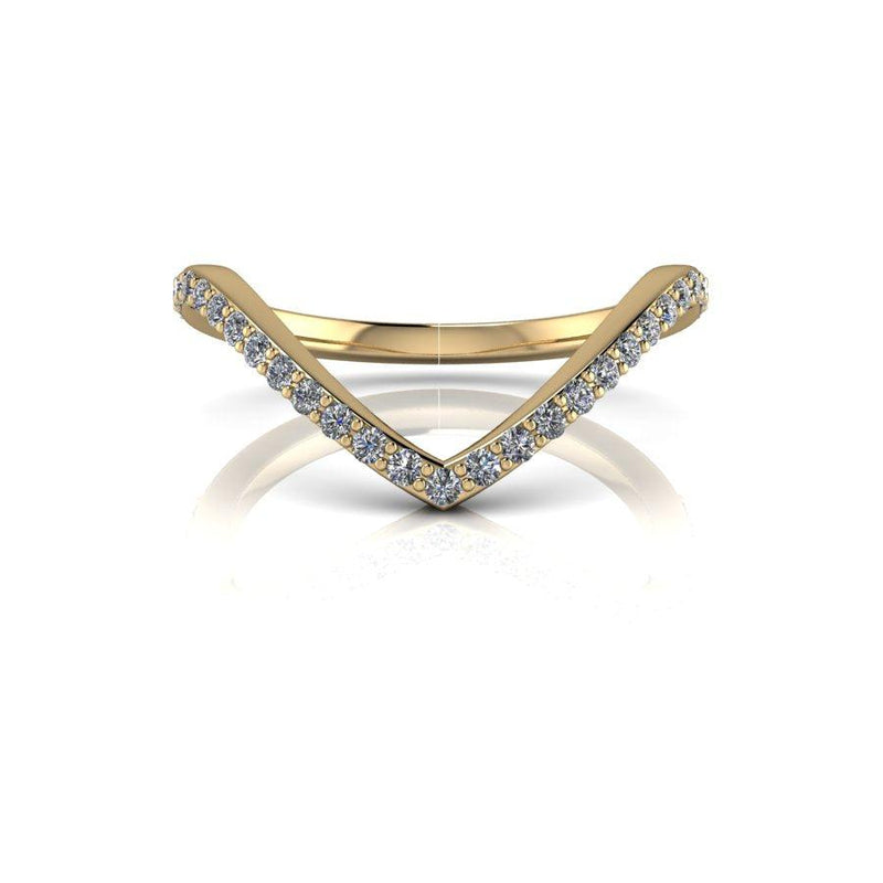 .25 ctw Chevron Wedding Band 14 kt Gold or Platinum-Bel Viaggio Designs
