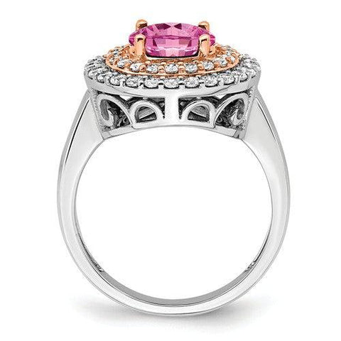 2.53 CTW Lab Grown Diamond Ring Pink Sapphire Halo Ring-Bel Viaggio Designs