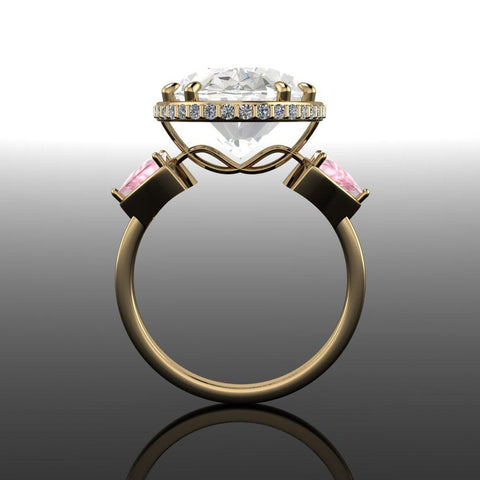 7.57 CTW White Beryl, Morganite & Diamond Three Stone Ring