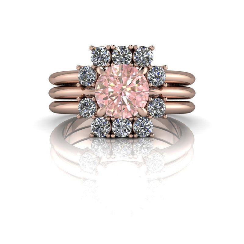 1.60 ctw Morganite & Lab Grown Diamond Bridal Set-Bel Viaggio Designs