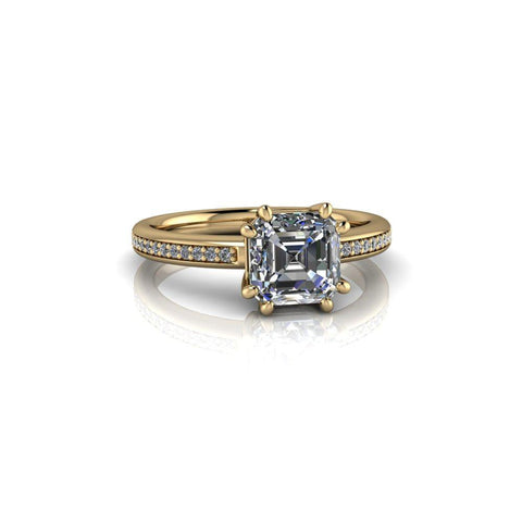 1.40 ctw Asscher Cut Forever One Moissanite Engagement Ring 8-Prong