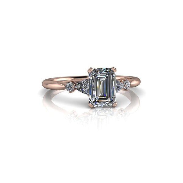 1.24 ctw Emerald Cut & Trillion Five Stone Moissanite Engagement Ring-Bel Viaggio Designs