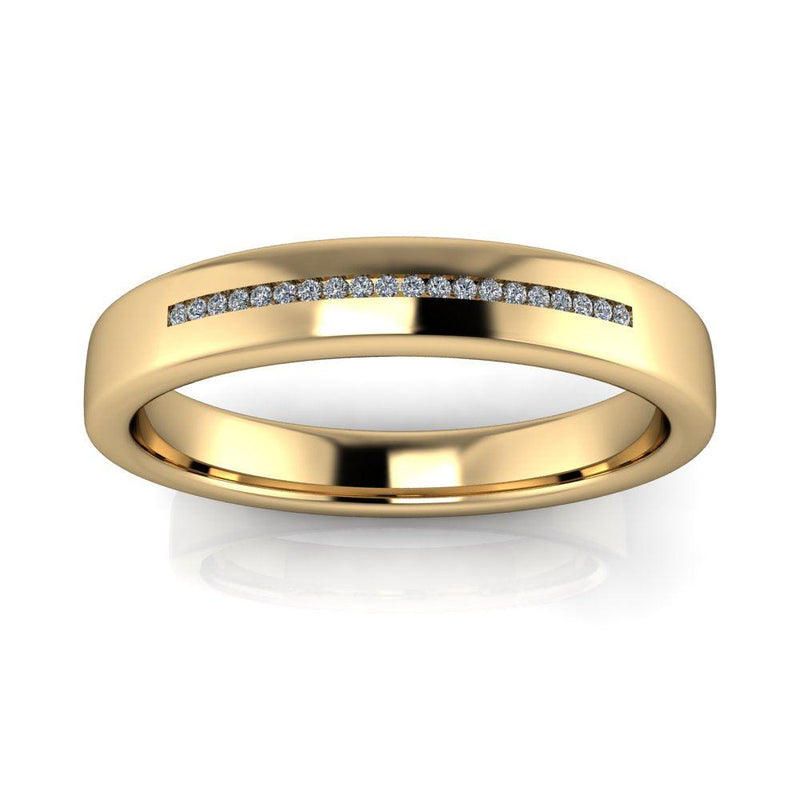Men's Wedding Band Channel Set 4mm, .05 ct-Bel Viaggio Designs