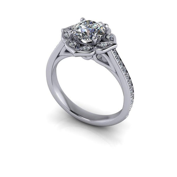 1.35 CTW Round Charles & Colvard Moissanite and Diamond Engagement Ring-Bel Viaggio Designs