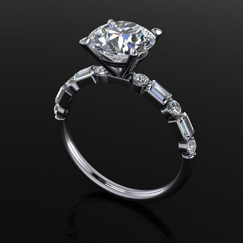 Round Hearts & Arrows Moissanite & Lab Grown Diamond Engagement Ring 2.41CT-Bel Viaggio Designs