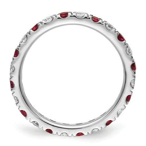 1.65 CTW Lab Grown Diamond Eternity Ring with Red Rubies-Bel Viaggio Designs