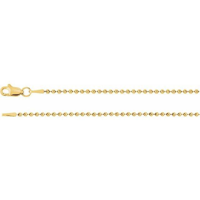 1.5mm 14 kt Gold Beaded Chain-Bel Viaggio Designs
