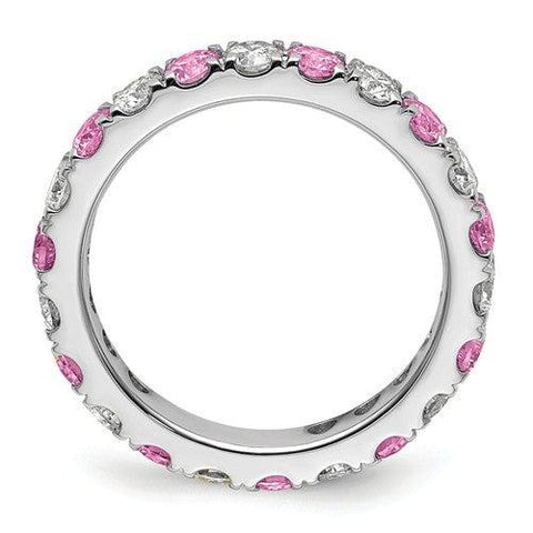 2.10 CTW Lab Grown Diamond Eternity Ring with Pink Sapphires-Bel Viaggio Designs