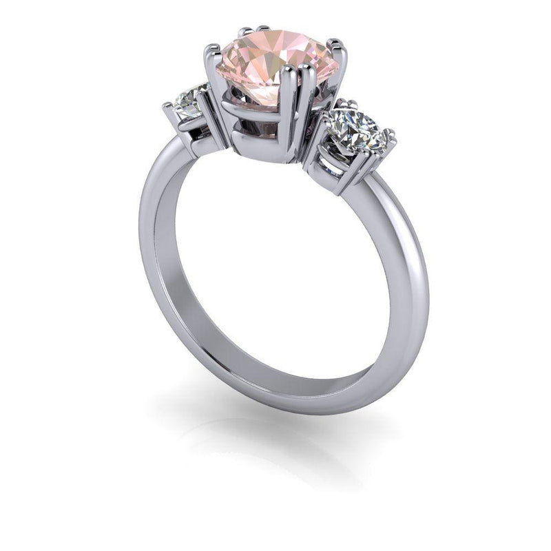 1.75 ctw Morganite & Lab Grown Diamond Three Stone Engagement Ring-Bel Viaggio Designs