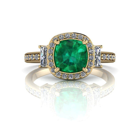 Cushion Cut Green Emerald Engagement Ring 2.62 ct-Bel Viaggio Designs