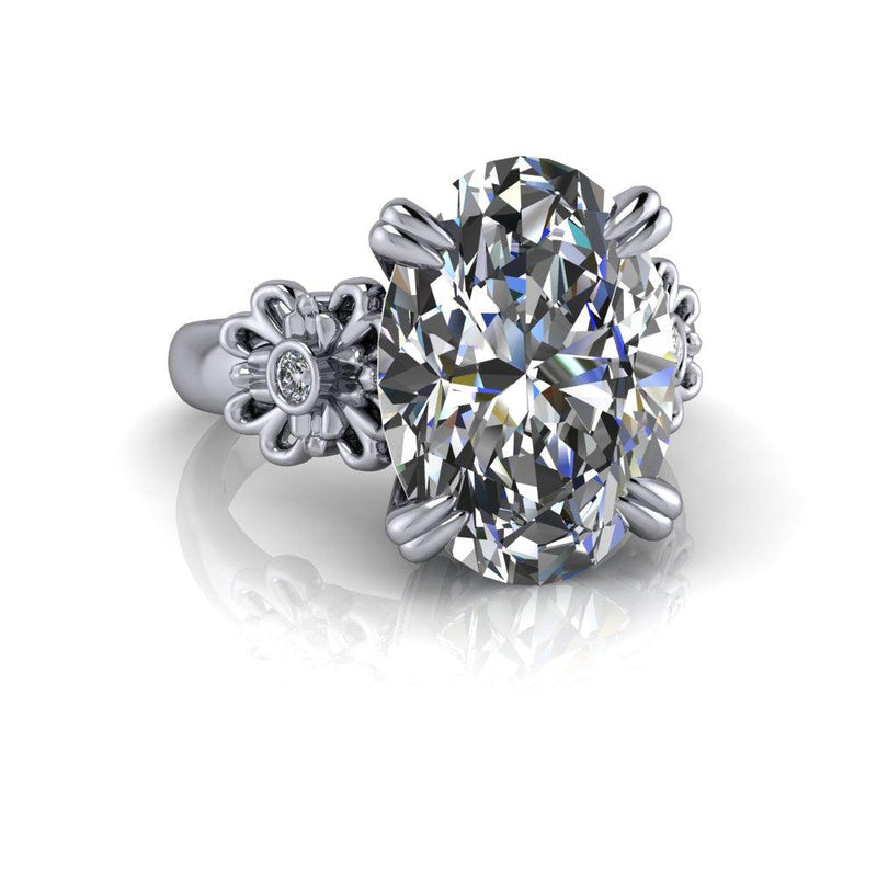 7.29 CTW Oval Exotic Cut Forever One Moissanite & Diamond Engagement Ring-Bel Viaggio Designs