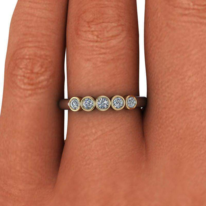 .30 CTW Moissanite Bezel Set Wedding Ring - Insieme Bridal Stackables®-Bel Viaggio Designs, LLC