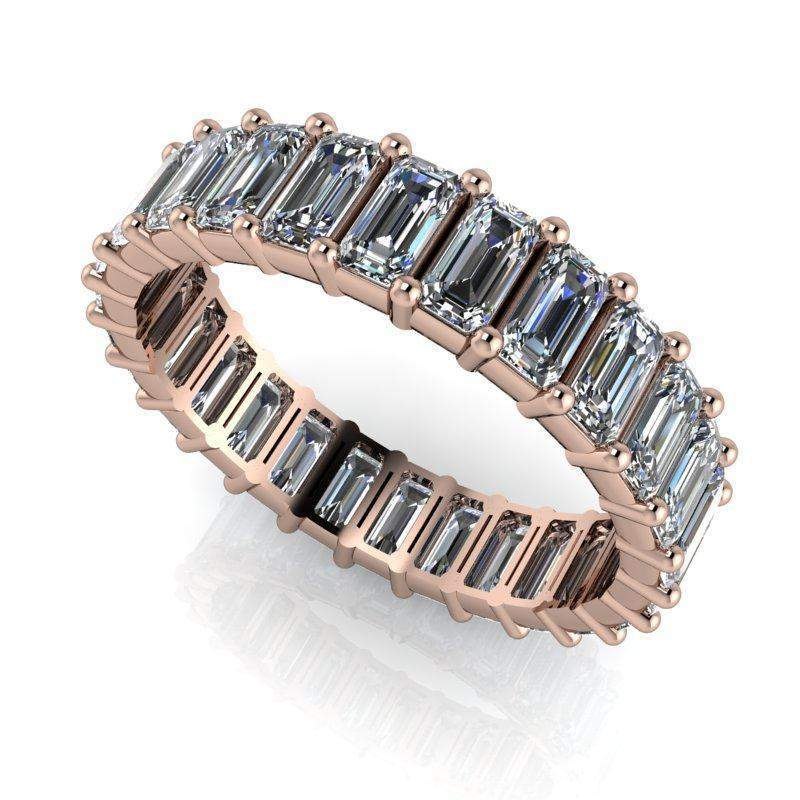 3.00 ctw Colorless Moissanite Emerald Cut Eternity Band-Bel Viaggio Designs