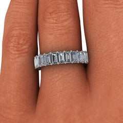 3.00 ctw Forever One Moissanite Emerald Cut Eternity Band-Bel Viaggio Designs, LLC