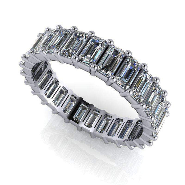 3.00 ctw Forever One Moissanite Emerald Cut Eternity Band-Bel Viaggio Designs