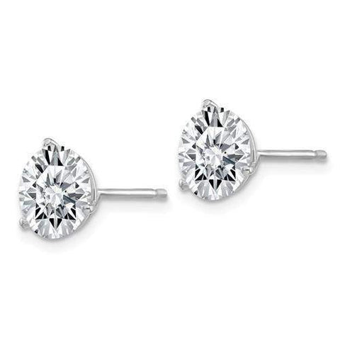 3.00 CTW Martini Stud Earrings - 14kt Gold Round Moissanite 3-Prong Post Earrings-BVD