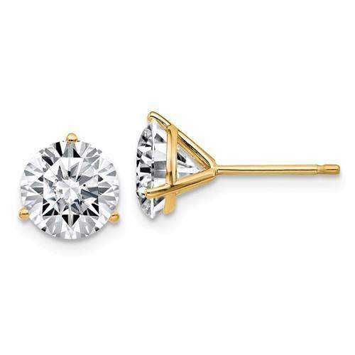 3.00 CTW Martini Stud Earrings - 14kt Gold Round Moissanite 3-Prong Post Earrings-Bel Viaggio Designs