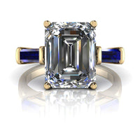 3.00 CTW Sapphire and Emerald Cut Colorless Moissanite Three Stone Ring-Bel Viaggio Designs, LLC