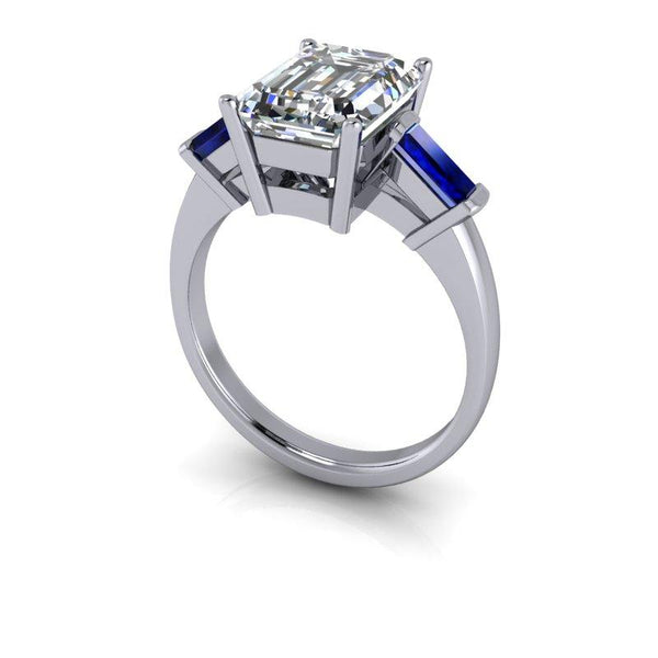 3.00 CTW Sapphire and Emerald Cut Colorless Moissanite Three Stone Ring-Bel Viaggio Designs