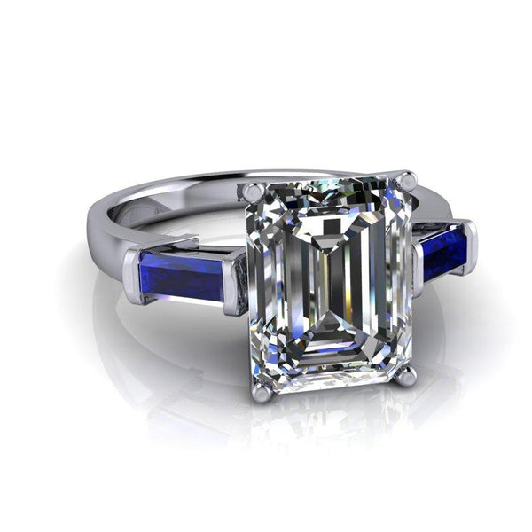 3.00 CTW Sapphire and Emerald Cut Colorless Moissanite Three Stone Ring-BVD