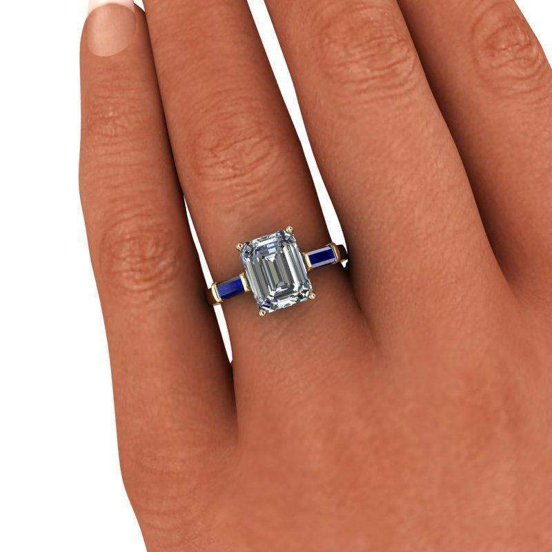3.00 CTW Sapphire and Forever One Emerald Cut Colorless Moissanite Three Stone Ring-Bel Viaggio Designs
