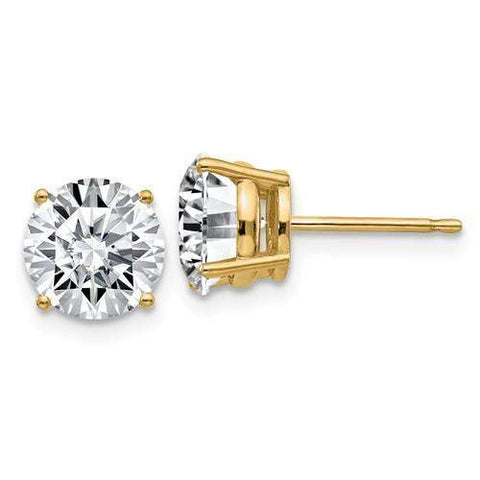 3.00 CTW Stud Earrings - 14kt Gold Round Moissanite 4-Prong Basket Post Earrings-BVD