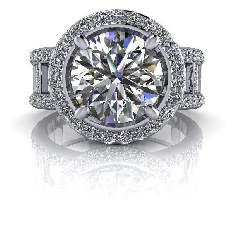 3.03 CTW Negative Space Forever One Moissanite Halo Engagement Ring-Bel Viaggio Designs