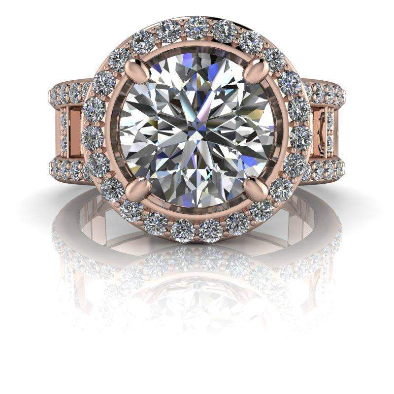 3.03 CTW Negative Space Moissanite Halo Engagement Ring-Bel Viaggio Designs, LLC