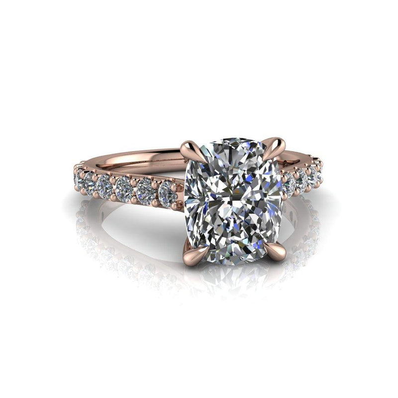 3.04 CTW Elongated Cushion Cut Colorless Moissanite Engagement Ring-Bel Viaggio Designs