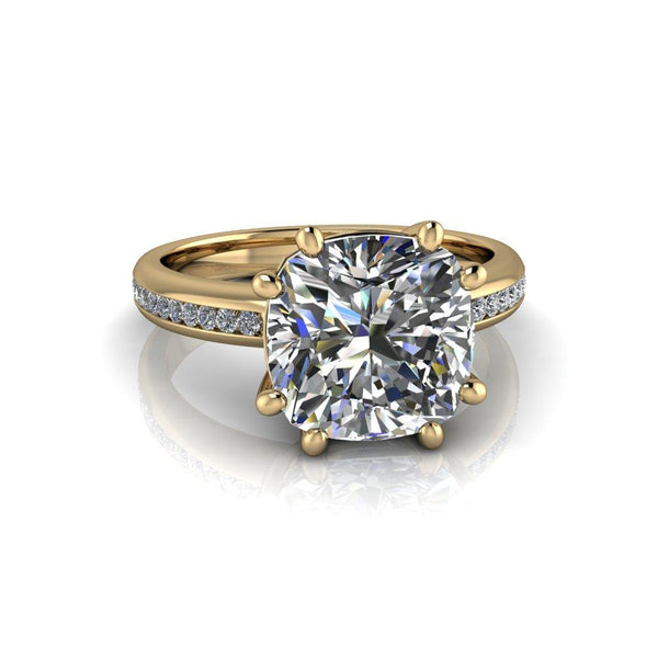 3.05 ctw Cushion Cut Forever One Moissanite Engagement Ring-Bel Viaggio Designs