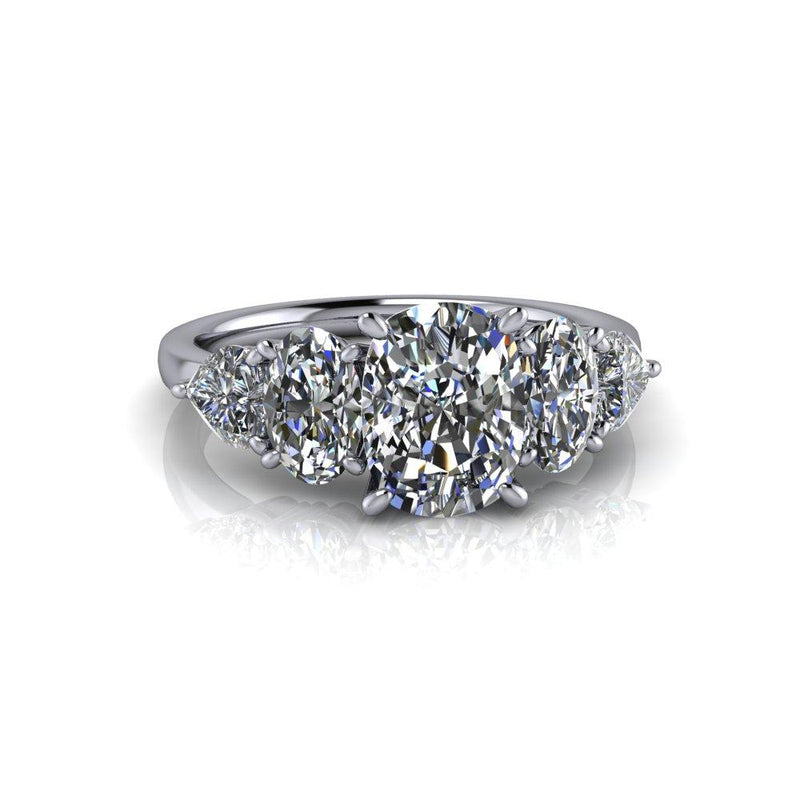 3.06 ctw Elongated Cushion Cut Moissanite Engagement Ring 5-Stone Ring-Bel Viaggio Designs