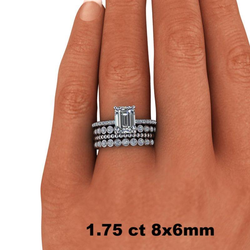 3.06 CTW Emerald Cut Forever One Moissanite and Diamond Bridal Set-Bel Viaggio Designs