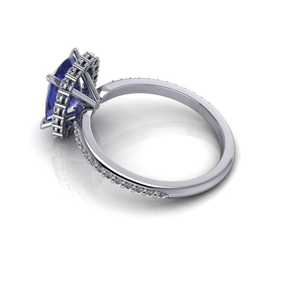 3.06 CTW Diamond Engagement Ring, Cushion Cut Tanzanite Anniversary Ring-Bel Viaggio Designs