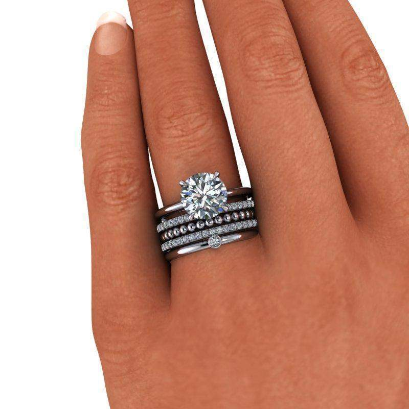 3.06 CTW Colorless Moissanite and Diamond Engagement Ring Bridal Set-Bel Viaggio Designs