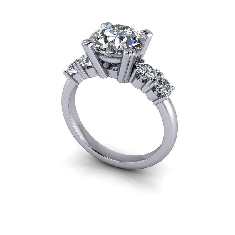 3.09 ctw Round Charles & Colvard Colorless Moissanite Engagement Ring Bridal Set-Bel Viaggio Designs