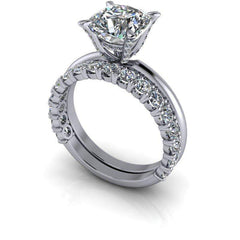 3.10 CTW Bridal Set -Cushion Cut Engagement Ring and Stacking Wedding Band-Insieme-Bel Viaggio Designs-Bel Viaggio®