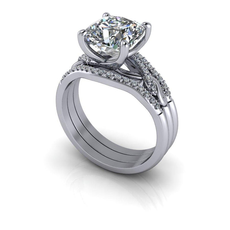 3.10 CTW Cushion Cut Moissanite & Diamond Bridal Set-Bel Viaggio Designs