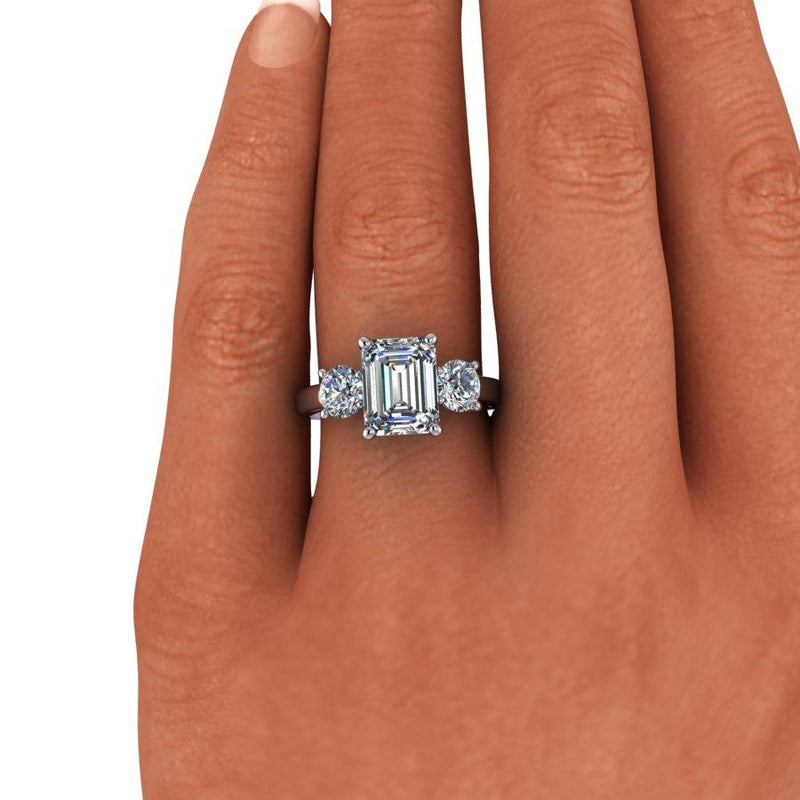 3.10 CTW Emerald Cut Moissanite Three Stone Engagement Ring, DEF Color-Bel Viaggio Designs