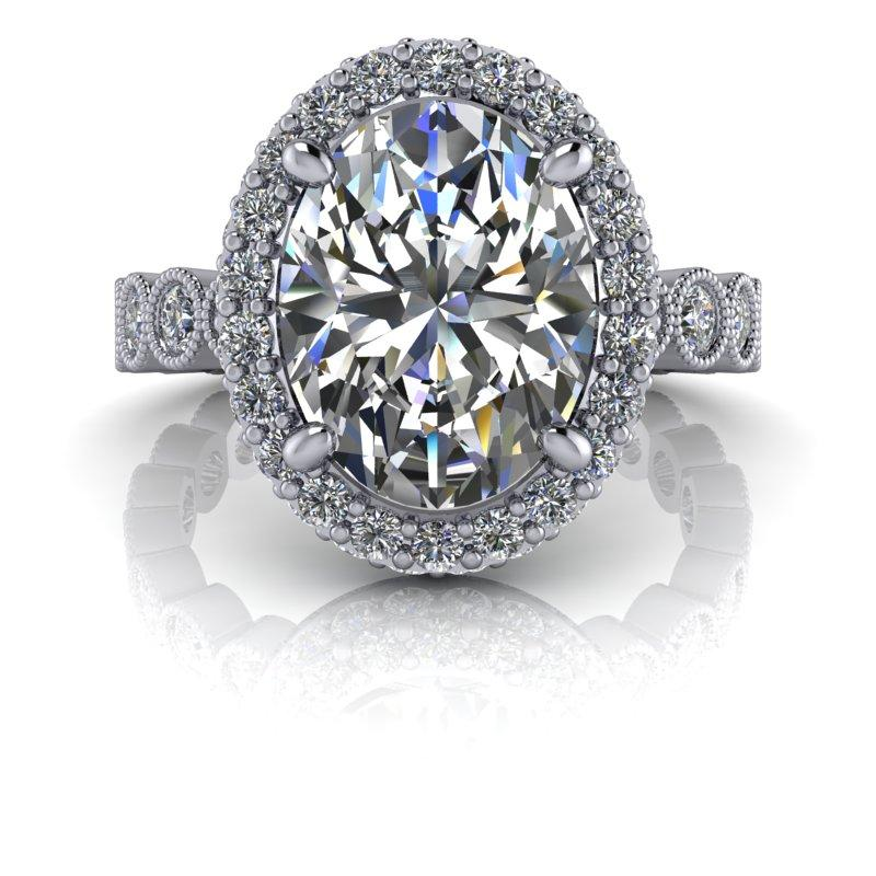 3.10 CTW Oval Colorless Moissanite Halo Engagement Ring-Bel Viaggio Designs, LLC