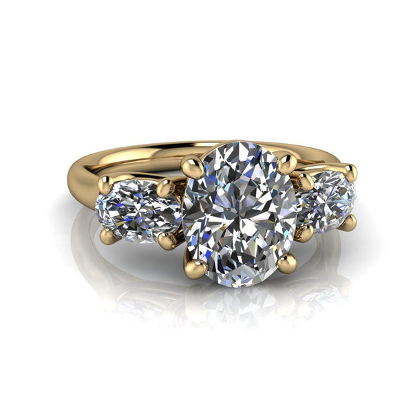 3.10 CTW Oval Colorless Moissanite Three Stone Engagement Ring-Bel Viaggio Designs