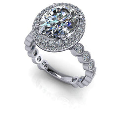 3.10 CTW Oval Forever One Moissanite Halo Engagement Ring-Bel Viaggio Designs, LLC