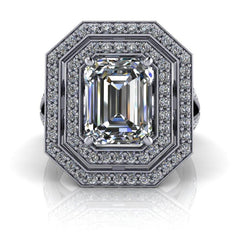 3.12 CTW Emerald Cut Forever One Moissanite Halo Split Shank Engagement Ring-Bel Viaggio Designs, LLC