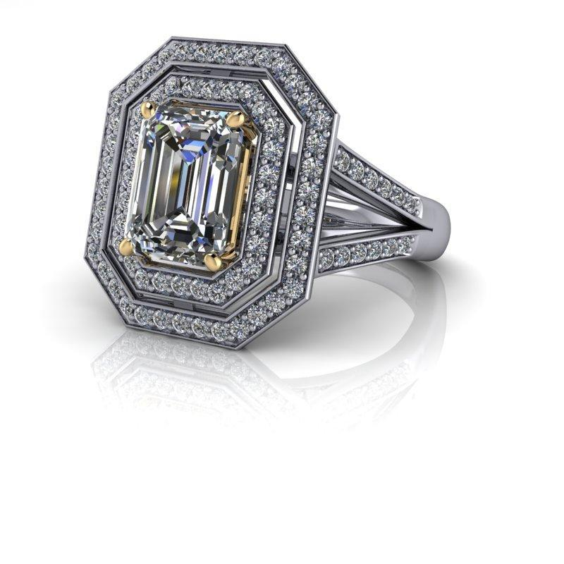 3.12 CTW Emerald Cut Forever One Moissanite Halo Split Shank Engagement Ring-Bel Viaggio Designs
